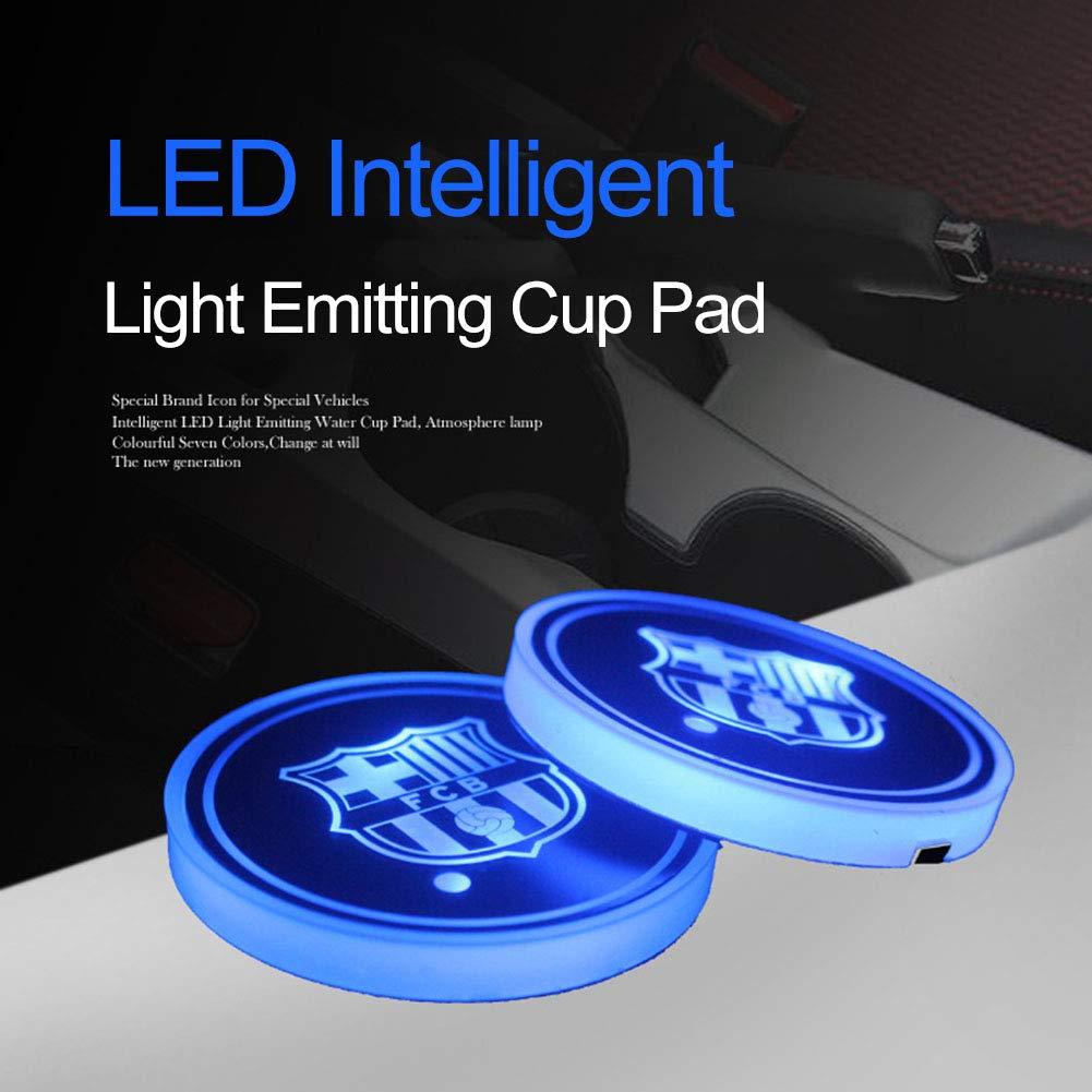 sottobicchieri con Logo Laduup Supporto per bibite a LED Tappetino per Auto per Auto Impermeabile Decorazione per Interni Juventus a LED