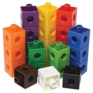 edx Education Linking Cubes - Set of 100 - .8 inch Large Size - Connecting Blocks for Construction and Early Math - Preschoolers Aged 3+ and Elementary Aged Kids