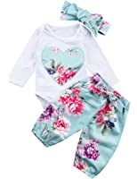 Miward Newborn Baby Girls Floral Heart Peach Print Romper Long Pants With Bowknot Headband Outfit Set