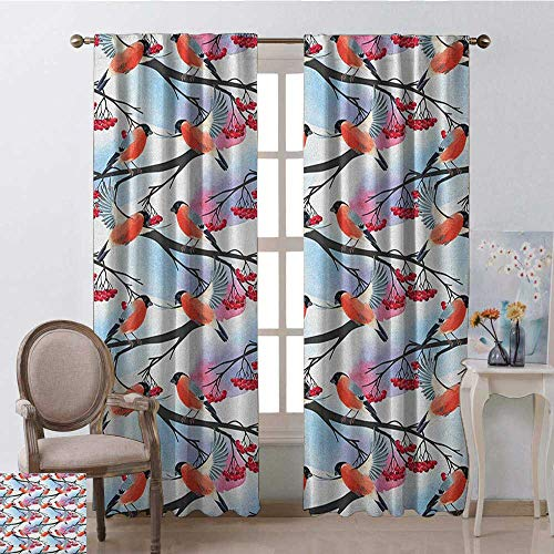 youpinnong Rowan, Curtains Unique, Bullfinch Birds with Open Wings on Rowan Shrubs with Ripe Berries Art Pattern Print, Curtains Kitchen, W96 x L96 Inch, Multicolor ()