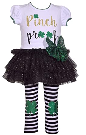 292db989624b2 Amazon.com: Bonnie Jean Girl's St Patrick's Day Shamrock Tutu Top and  Leggings Set for Baby Toddler and Little Girls - Too Cute to Pinch: Clothing
