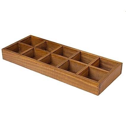 Bandejas cubiertos, hipsteen madera cajón organizador cubiertos Bandeja sistema stoccaggio caja pluma casa recipiente