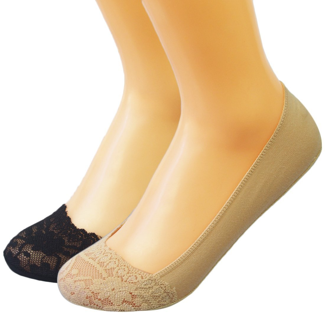kilofly No Show Silicone Heel Grip Non-Skid Socks [2 Pairs Set, Black & Beige] FTW363set2