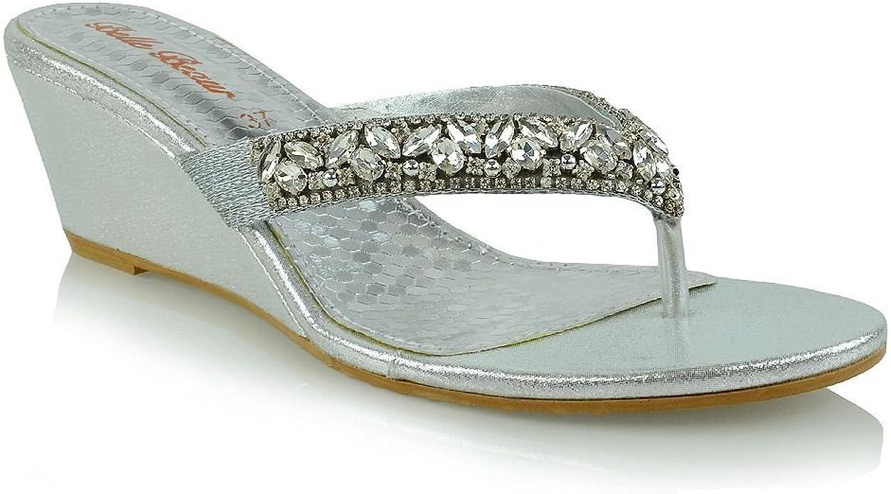New Women/'s Low Wedge Heel Sandals Ladies Diamante Flip Flops Toe Post Size 3-8