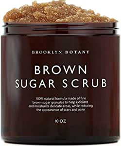 Brown Sugar Body Scrub - Exfoliating Face Scrub & Body Scrub for Cellulite, Stretch Marks, Acne, and Varicose Veins, 10 oz - Brooklyn Botany
