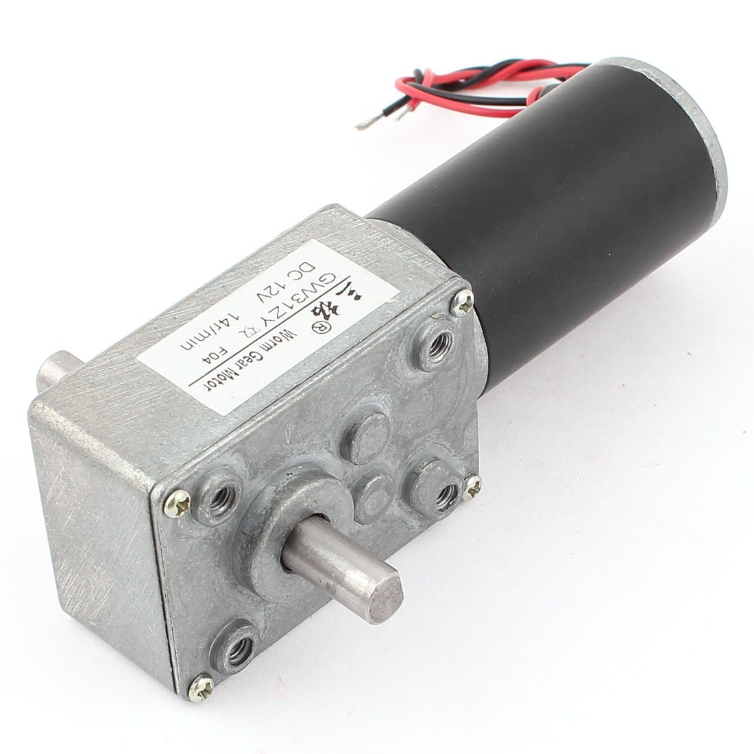 uxcell DC 12V 14RPM 8mmx13mm Double Shaft Worm Geared Motor