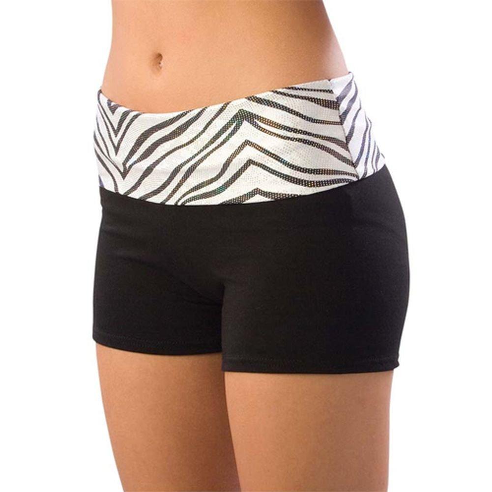Pizzazz Girl Size 2T-16 White Zebra Roll Down Waist Shorts Dance Cheer