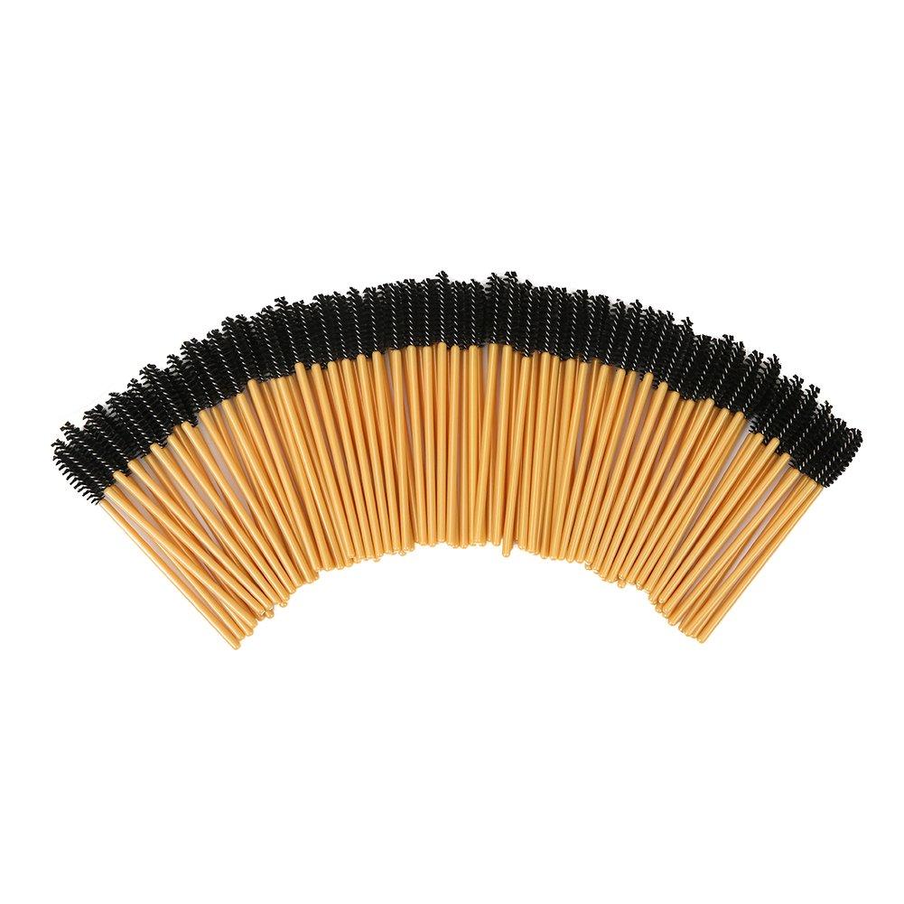 Shintop 100pcs Disposable Eyelash Brushes Eye Lash Makeup Brush Mascara Wands Applicator (Glod)