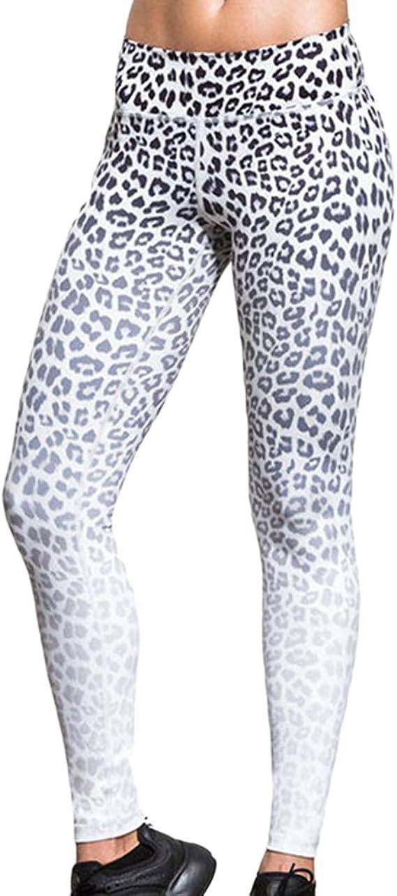 Moorui Mujer Pantalones Leopardo Yoga Cintura Alta Pantalón ...