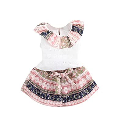 bestpriceam Baby Girls Summer Ruffled Collar Vest Top + Shorts Clothing Set (2-3Y, Pink)