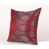 sofa pillow Chinese-style red fish pillow Silk mahogany furniture rich wedding pillow-A 50x50cm(20x20inch)VersionB