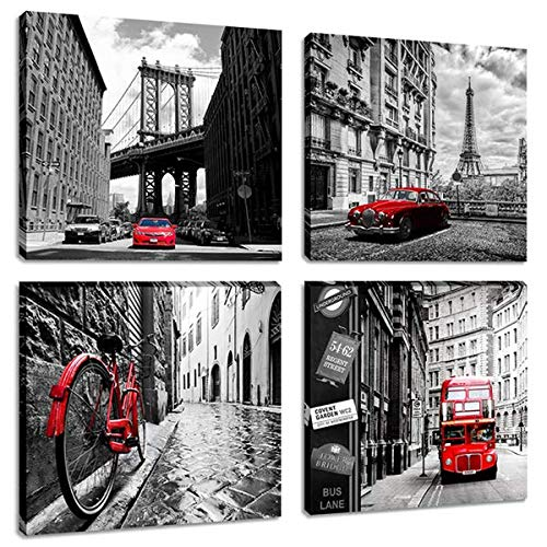 Black and White Cityscape Painting Artwork Brooklyn Bridge Eiffel Tower Italy Bicycle London Double Bus Canvas Picture Print Wall Art for Living Room ()