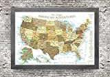 USA Push Pin Map - Large Framed Push Pin Map - Gold Edition - Includes 100 map pins