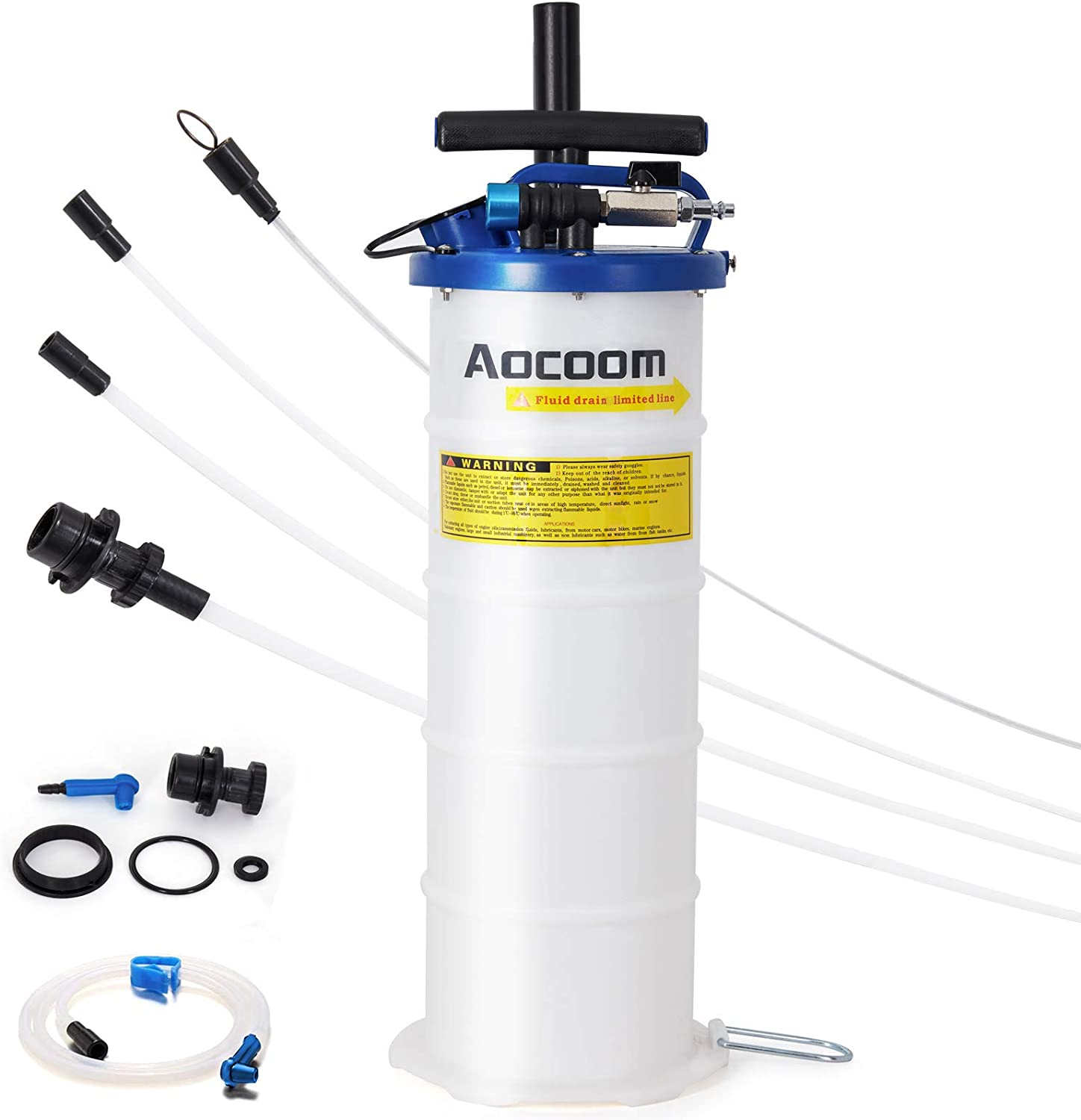 Aocoom 6.5 Liter Oil Changer Vacuum Transmission Fluid Extractor Pneumatic/Manual Fluid Evacuator with Pump Tank Remover and Brake Bleeding Hose Engine Oil Change & Fluid Change Tool