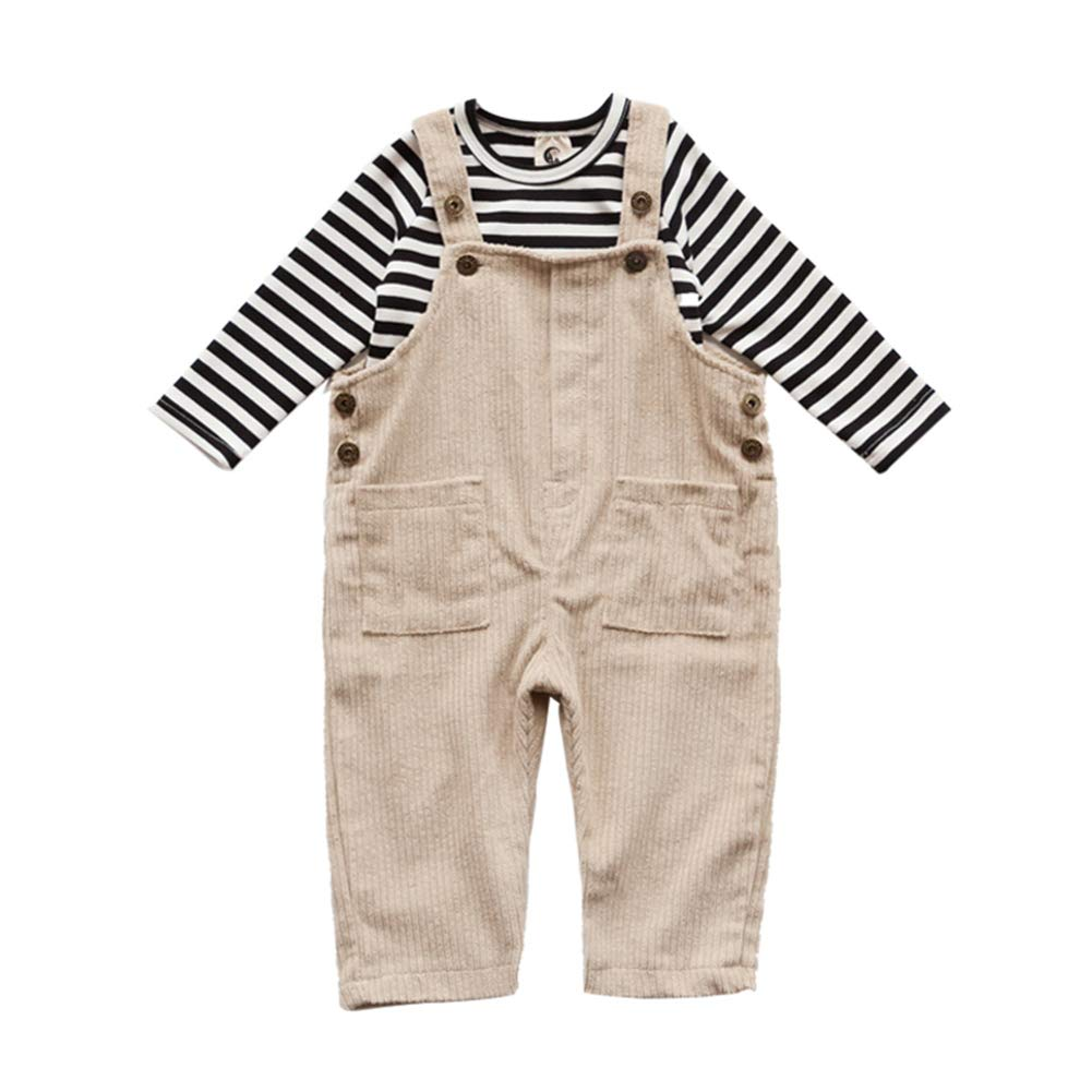 ALLAIBB Little Toddler Boy Clothing Sets 2PCs Striped Long Tee Top Corduroy Suspender Pants