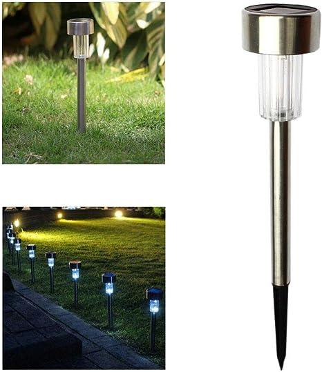 Paquete de 10 Luces de baliza para jardín con energía solar Luces de sendero para exteriores de acero inoxidable a prueba de intemperie Luz de paisaje para césped (Blanco): Amazon.es: Iluminación