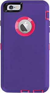 iPhone 6 Plus Case,iPhone 6S Plus Case [Heavy Duty] AICase Built-in Screen Protector Tough 4 in 1 Rugged Shockproof Cover for Apple iPhone 6 Plus / 6S Plus (Light Purple/Rose Red)