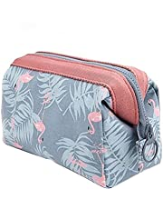 Makeup Bag Travel Cosmetic Bags Toiletry Wash Bag Portable Travel Make Up Case Pouch for Women Girls (Flamingo)