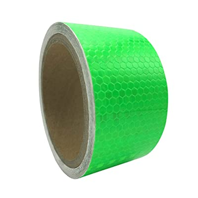 "PerfecTech 2"" x 16.4' Reflective Pure Color Aveolate Honeycomb Prismatic Pattern Conspicuity Hazard Safety Warning Caution Tape Film (Green): Automotive"