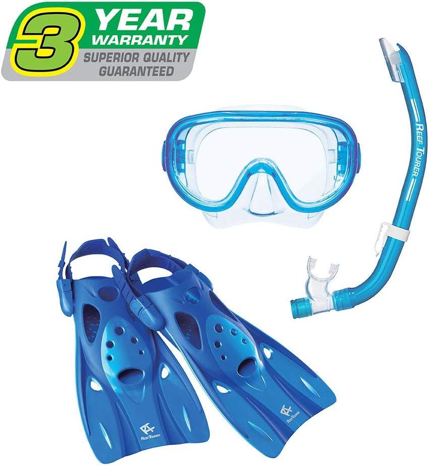 Reef Tourer Adult Single-Window Mask Snorkel and Fin Traveling Set