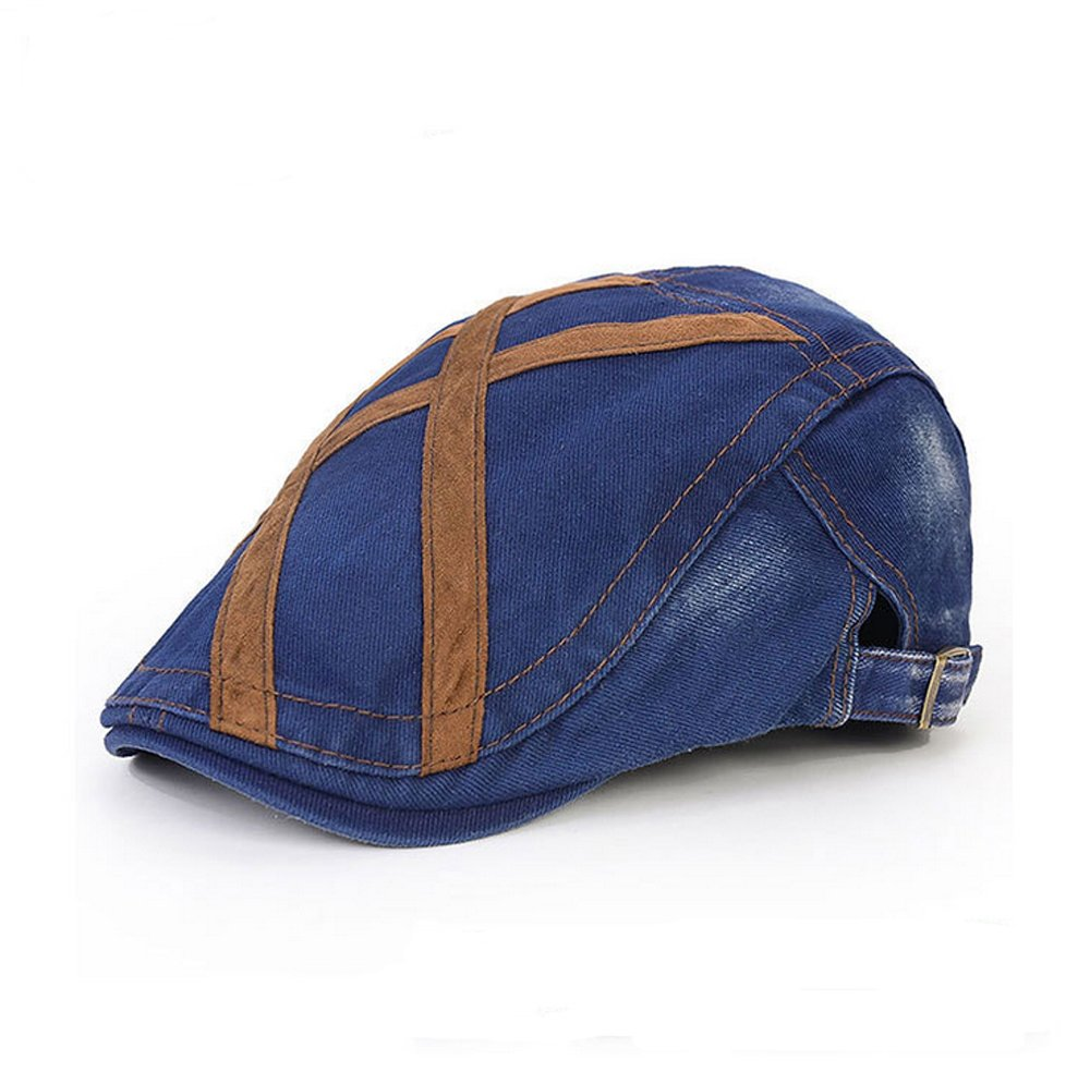 elwowメンズストレッチ調節可能ストラップスエードストライプフラットキャップCabbie帽子ギャツビーアイビーキャップ、ハンティングゴルフハイキングNewsboy Hat B06Y6M8988  ブルー