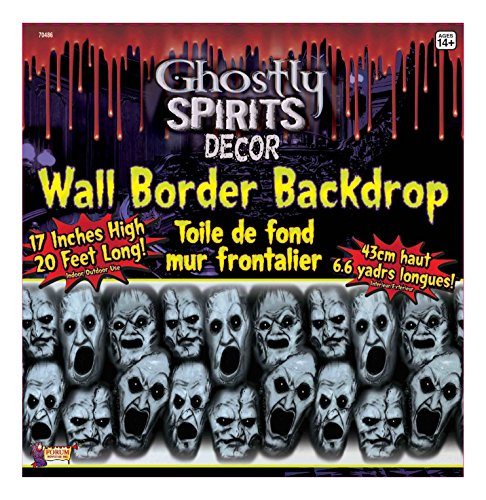 Forum Novelties Ghostly Spirits Decor Screaming Faces Wall Border Backdrop, Multicolored