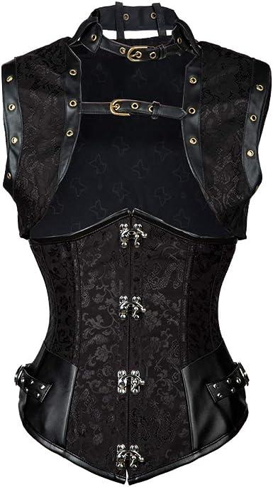 ZAMME Womens Steampunk Zip Up Jacquard Weave Steel Boned Corset