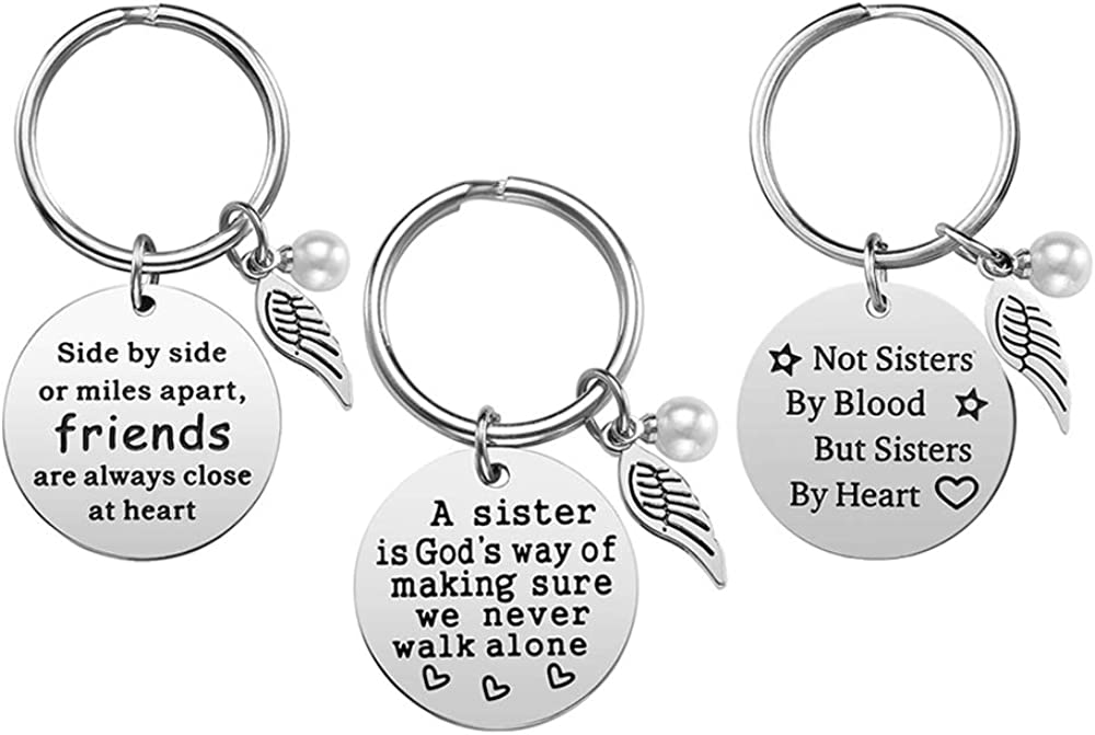 FineGood 3 Pcs Best Friends Keychain Gift with Wing & Perl Tags, Stainless Steel Girls Women Friendship Key Ring Present for Birthday Graduation Christmas