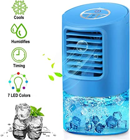 EEIEER Aire Acondicionado Portátil Enfriador Aire, 4 IN 1 Móvil Mini Turbo-Ventilador Humidificador Purificador de Aire Personal Enfriador Climatizador Portátil Air Cooler para el hogar, Cocina: Amazon.es: Hogar