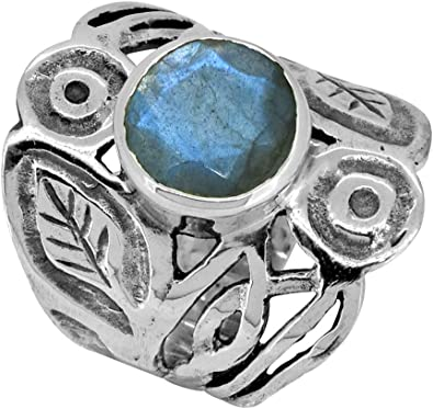 YoTreasure Handcrafted Oval Shaped Natural Larimar Gemstone Sterling Silver Designer Ring Jewelry