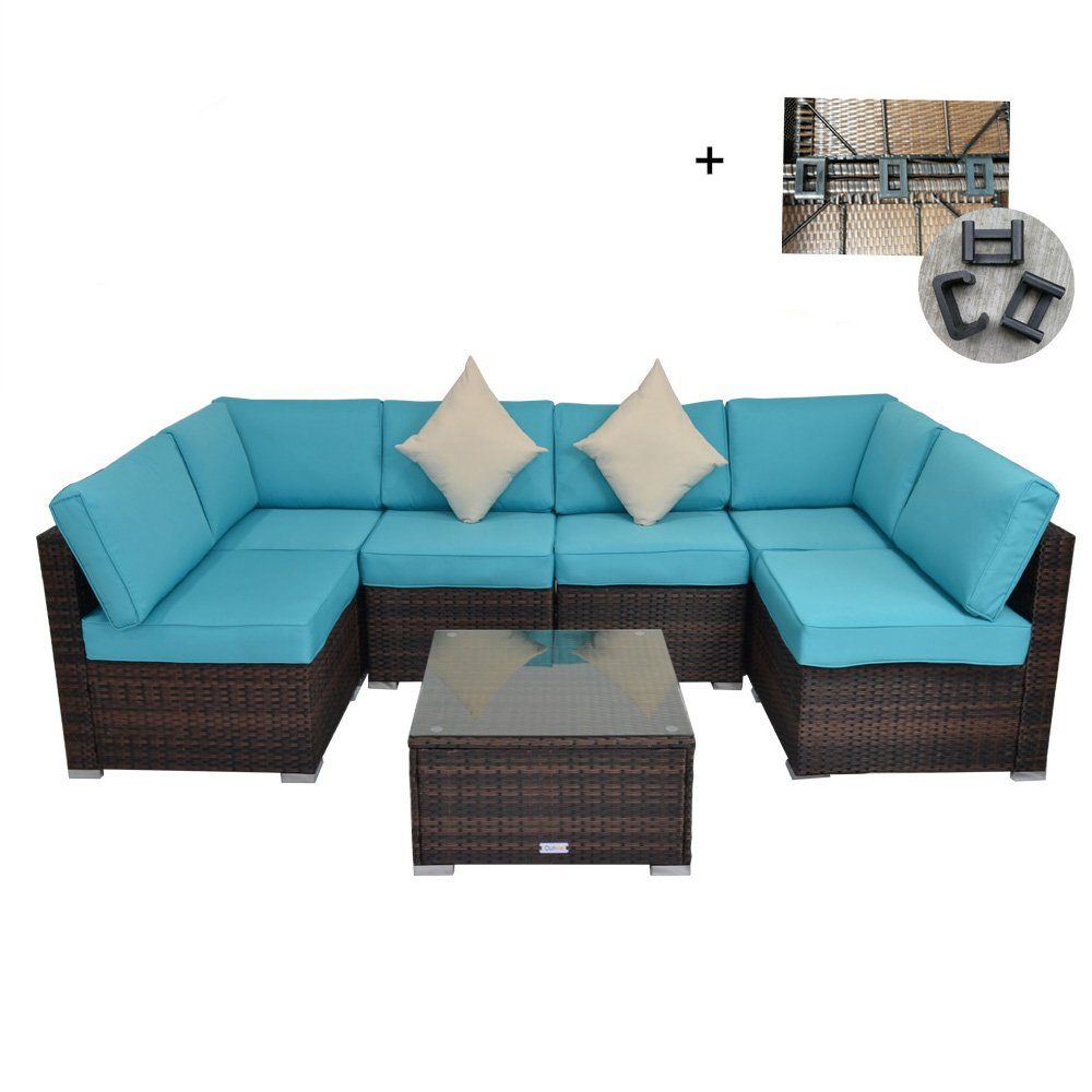Outdoor Rattan Wicker Sofa Set Garden Patio Furniture Cushioned Sectional Conversation Sets-Easy Assembled(Brown,7 Piece)