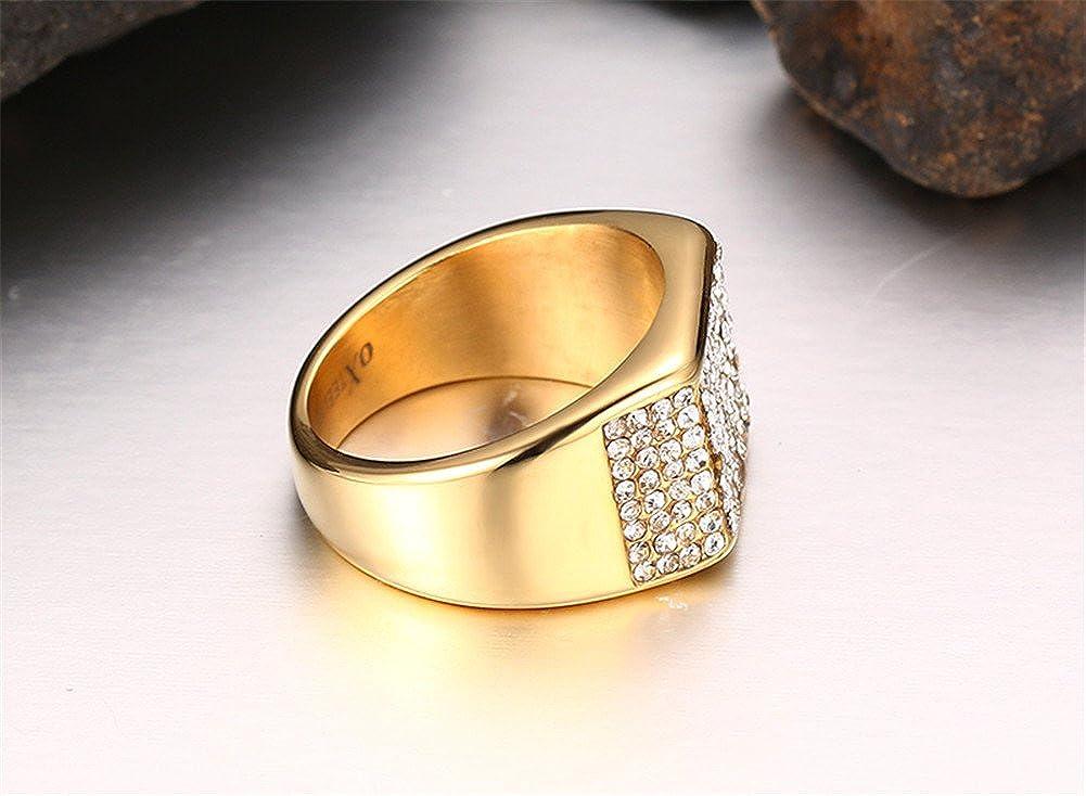 Aruie Bague Chevali/ère pour Homme en Acier Inoxydable avec Diamant Simul/é Zircon Carr/é Dor/é Bling Alliance Mariage Bijoux Cadeau
