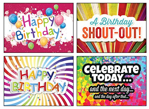 12 Boxed Birthday Greeting Cards - Celebrate! - NIV Scripture Included in Each Card! Bulk Birthday Cards & 12 Envelopes Boxed Cards Colorful & Loud Birthday Cards