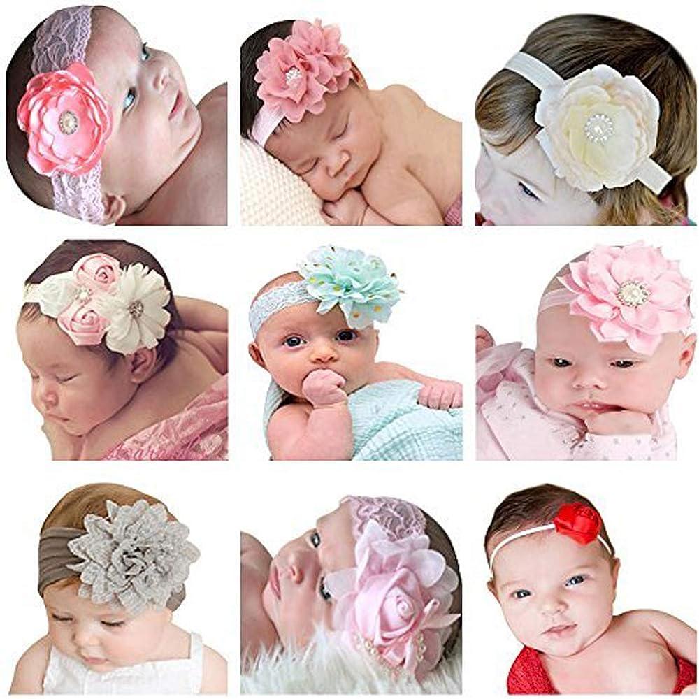 Baby Girl Newborn Elastic Turban Flower Hairband  Nylon Headband Beanie Hat