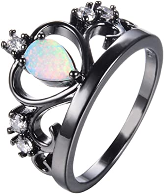 925 Silver Blue Fire Opal CZ Ring Black Gold Filled Jewelry Wedding Band Sz 5-12