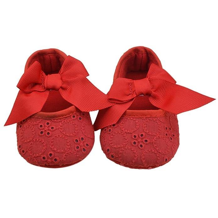 Malloom Bebé Algodón de Las Muchachas del Bowknot de La Cinta Inferior Suave Zapatos de La Flor de Prewalker (6-12 Meses (12cm), Rojo)