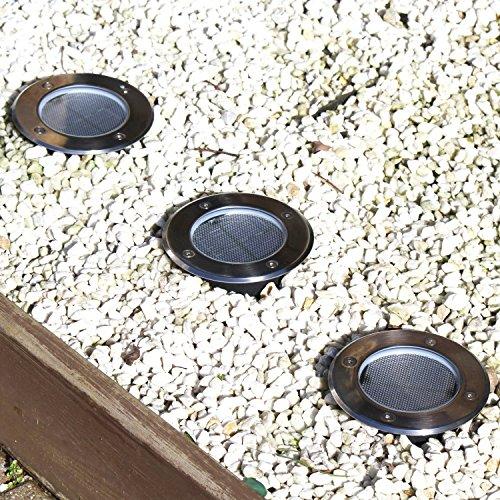 Aluminum Alloy Stainless Steel Waterproof Solar Panel Powered LED Under Ground Light Buried Lamp Floor Buried Lighting Floor Landscape Lighting Stairway Pathway Lamp Garden Yard Decoration (White) by AV SUPPLY (Image #6)