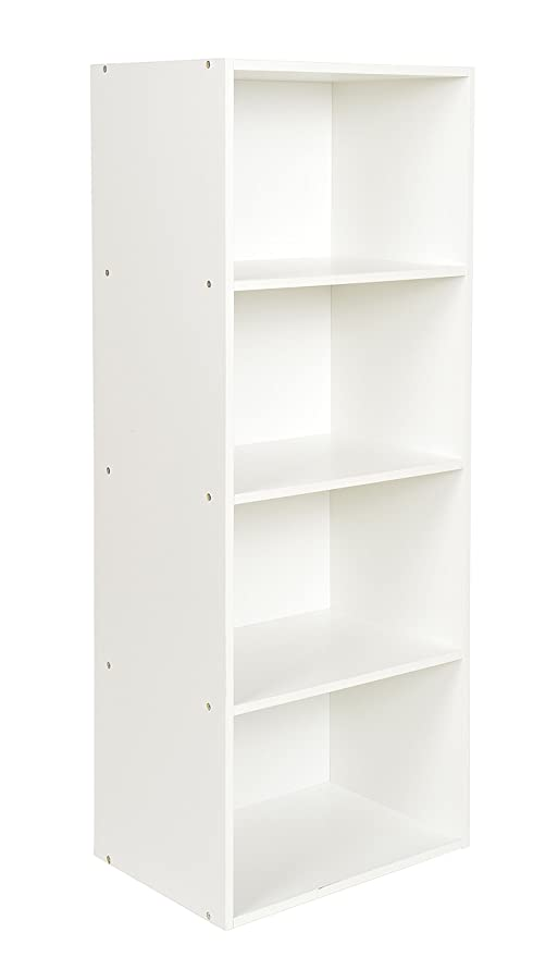 ts-ideen Estantería fibra de madera blanco almacenamiento de CD 106 x 41,5