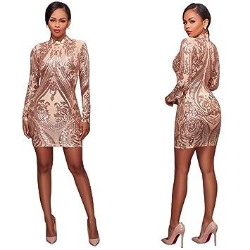 1655802fd5 Vestido de mujer Para mujer de cuello alto de lentejuelas de manga larga  cadera vestido geométrico