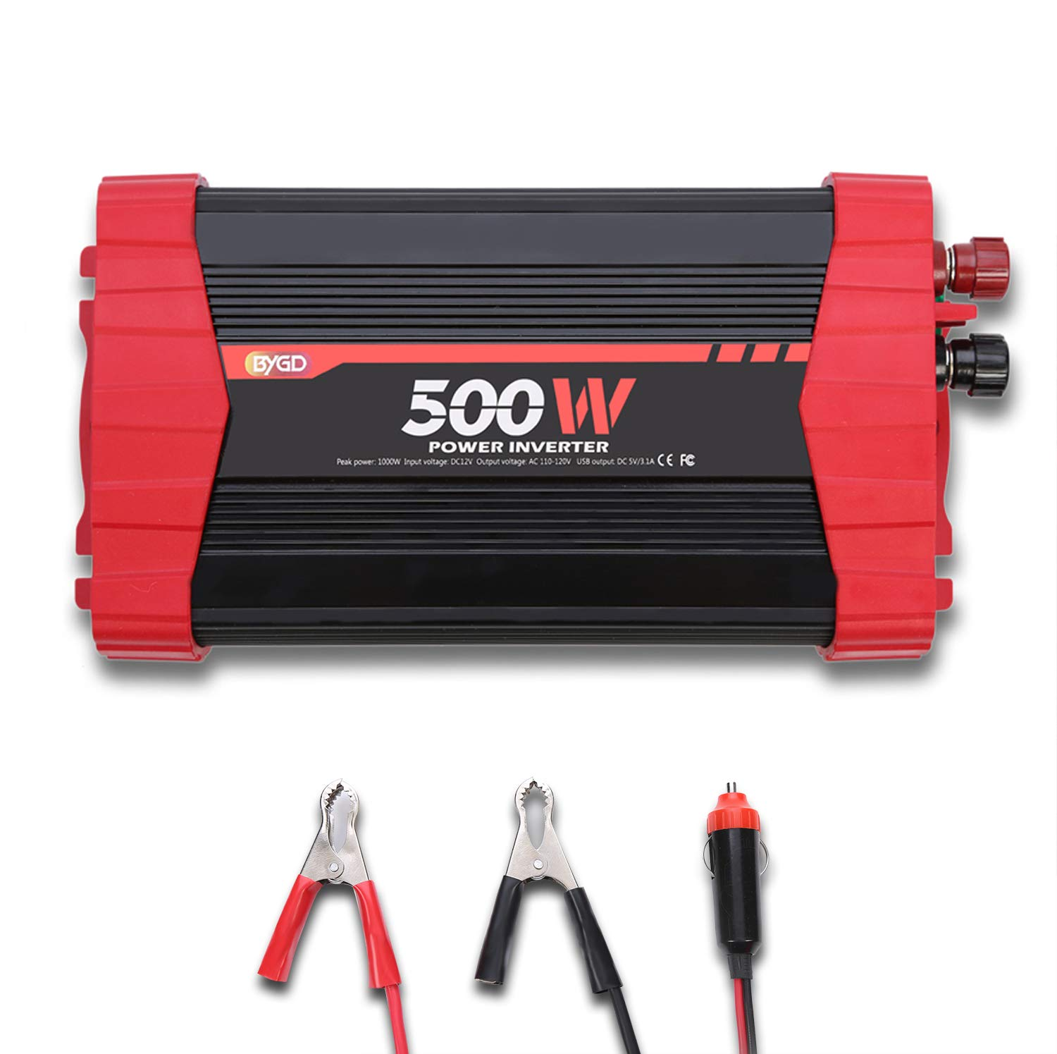 BYGD 500W Car Power Inverter DC 12V to 110V AC Converter Dual Outlets with 3.1A 4 USB Ports Car Charger Adapter by BYGD