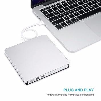 Grabador externo de CD/DVD-RW unidad grabadora, Ultra velocidad portátil CD ranura