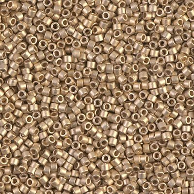 (Miyuki Delica 11/0 Cylinder Seed Beads - Matte 24kt Gold Light Plated - DB0334 5 grams)