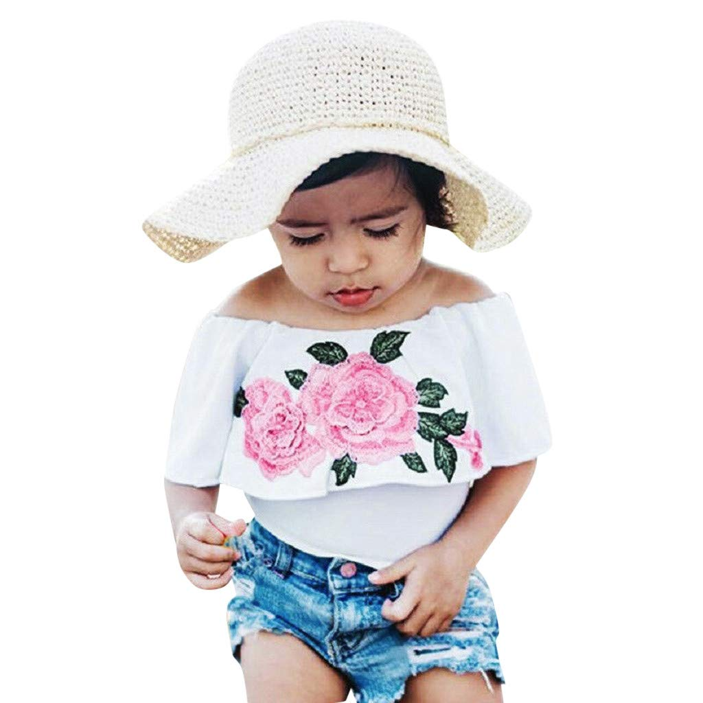 NUWFOR Toddler Baby Girls Off Shoulder Rose Print Tops+Hole Denim Shorts Outfits Set(White,2-3 Years)