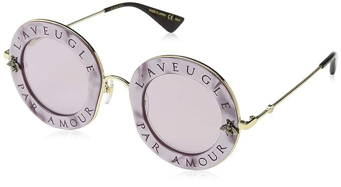 Amazon.com: anteojos de sol Gucci GG 0113 S- 005 Rosa/Oro ...