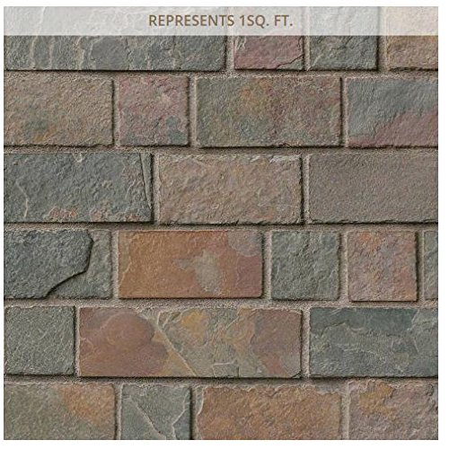California Gold Brick 12 in. x 12 in. x 8 mm Tumbled Slate Mesh-Mounted Mosaic Tile