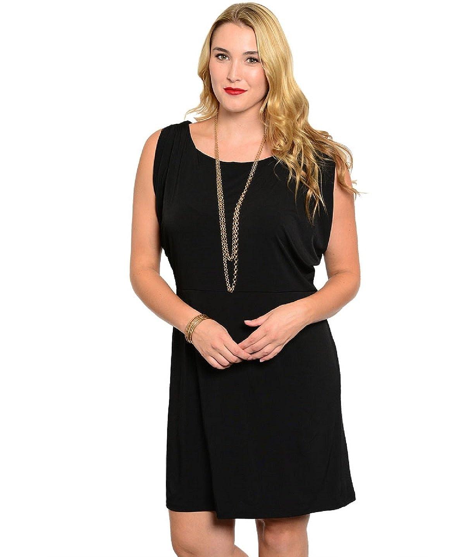 f96582a0e7e Jonathan Martin Women Dress Plus Size Solid Black Sleeveless Scoop Neck at Amazon  Women s Clothing store
