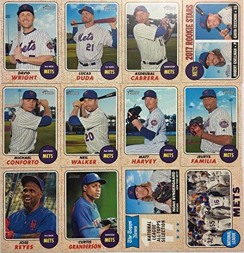 New York Mets 2017 Topps Heritage Baseball Series Basic 12 Card Team Set with David Wright Matt Harvey and Noah Syndergaard Plus