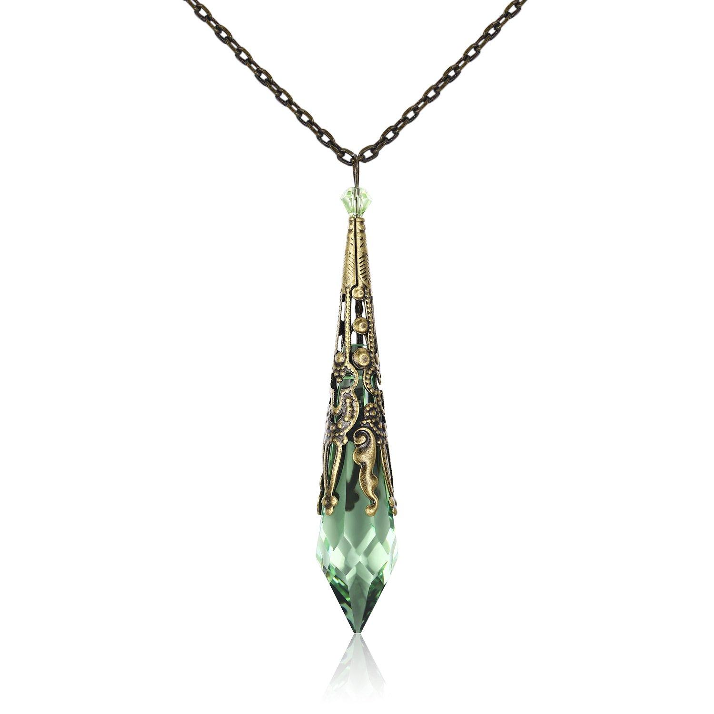 HALONA Vintage Antique Bronze Victorian Pendant Necklace with SWAROVSKI  Icicle Crystal (Peridot)
