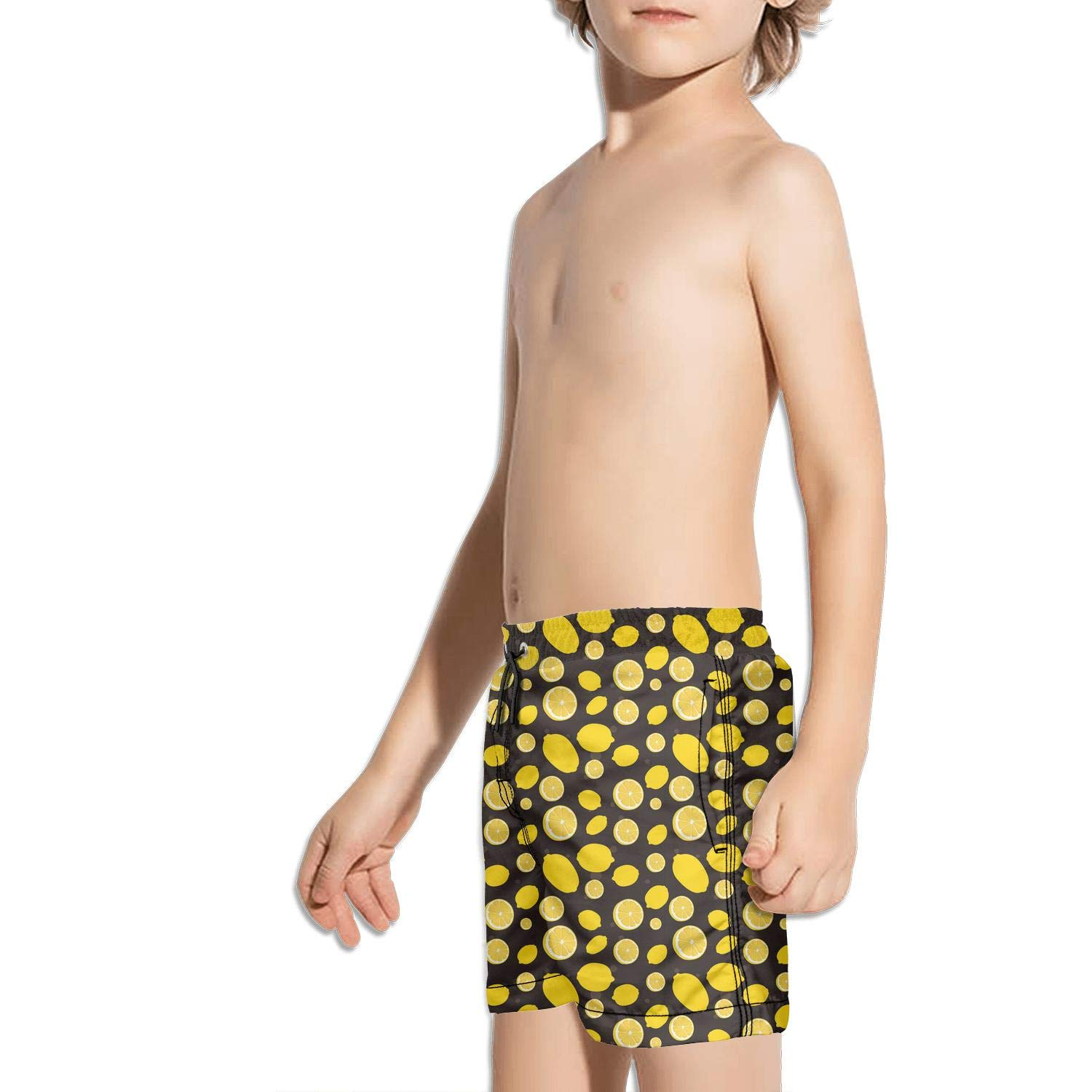 XULANG Kids Boys Girls Yellow Lemon Cartoon Board Shorts Watersports Training Fashion Boardshorts