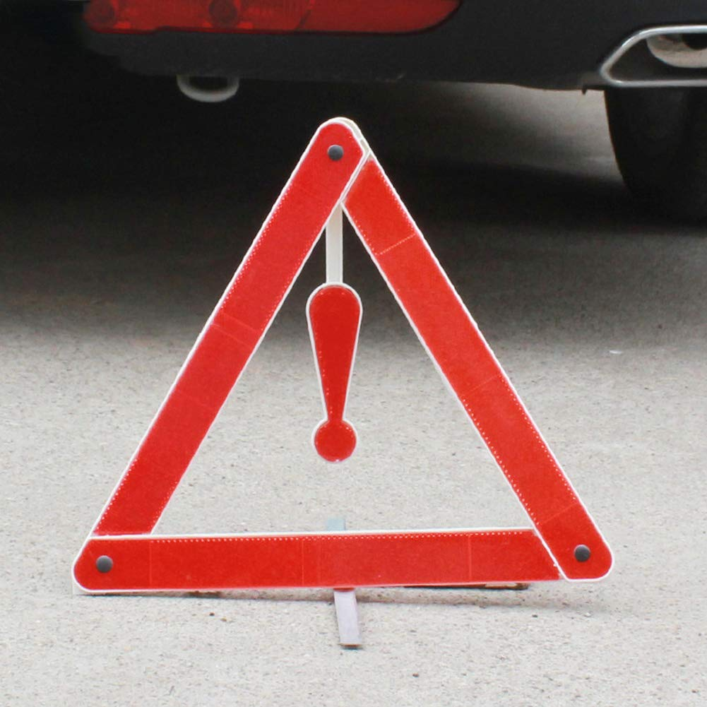 Red Warning Sign Exclamation Mark Reflective Red Roadside Car Supplies Safety Emergency PVC Triangle Portable High Visibility